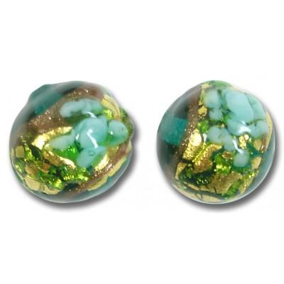 1 Murano Glass Amore Marino Goldfoil & Aventurine 14mm Round Bead