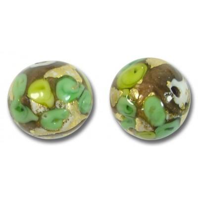 1 Murano Glass Amore Verde Goldfoil & Aventurine 14mm Round Bead