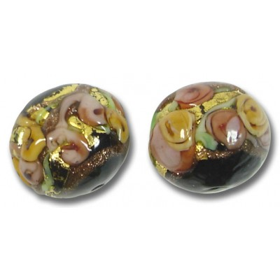 1 Murano Glass Amore Black Goldfoil & Aventurine 14mm Round Bead