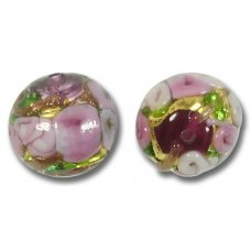 1 Murano Glass Amore Amethyst Goldfoil & Aventurine 14mm Round Bead