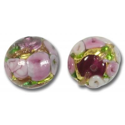 1 Murano Glass Amore Amethyst Goldfoil & Aventurine 14mm Round Bead