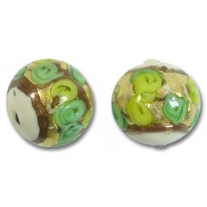 1 Murano Glass Amore White Core Verde Goldfoil & Aventurine 16mm Round Bead