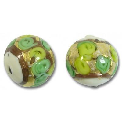 1 Murano Glass Amore White Core Verde Goldfoil & Aventurine 16mm Round Bead