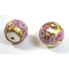 1 Murano Glass Amore White Core Rose Goldfoil & Aventurine 16mm Round Bead