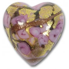 1 Murano Glass Amore Rose Goldfoil & Aventurine 20mm Heart