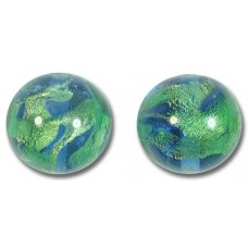 1 Murano Glass Planet Earth Sapphire & Erba Gold Foiled 16mm Bead