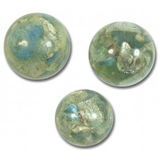 1 Murano Glass Aqua Blue Moonshine White Gold Foiled 14mm Bead