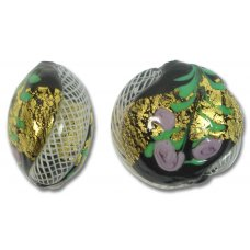 1 Murano Glass Black Latticino Rose 26mm Lentil Bead