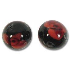 1 Murano Glass Red Rose on Black 16mm Round Bead