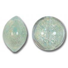 1 Murano Glass Light Aquamarine Crackle White Gold 14mm Lentil Bead