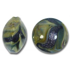1 Murano Glass Indigo Blue Aventurine & Earth Colours 17mm Lentil Bead