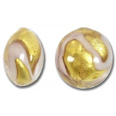 1 Murano Glass Pink Gold Foil 18mm Lentil Bead