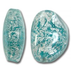 1 Murano Glass Aquamarine Crackle White Gold Foiled Pebble Bead