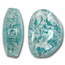 1 Murano Glass Aquamarine Crackle White Gold Foiled Pebble Bead