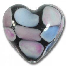 1 Murano Glass Pastel Spots 30mm Heart Bead