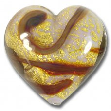 1 Murano Glass Rococo Rose Gold Foiled 32mm Heart Bead