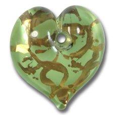 1 Murano Glass Verde Green Heart 22mm Pendant
