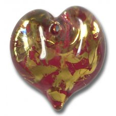 1 Murano Glass Ruby Red Heart 22mm Pendant