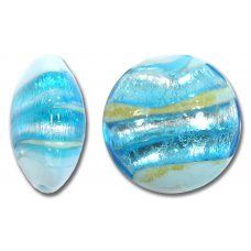 1 Murano Glass Aquamarine Gold Foiled 24mm Lentil Bead