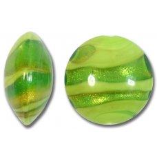 1 Murano Glass Greens Gold Foiled 24mm Lentil Bead