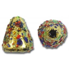 1 Murano Glass Bejewelled Gold Foiled 18mm Cone Bead
