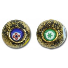 1 Murano Glass Millefiore Gold Foiled 16mm Round Bead