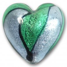 1 Murano Glass Bi-Coloured White Gold Foiled 30mm Heart Bead Emerald & Light Sapphire