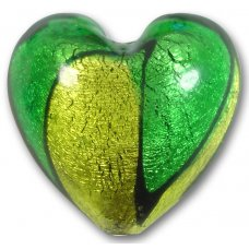 1 Murano Glass Bicolour  Gold Foiled 30mm Heart Bead Emerald & Lime