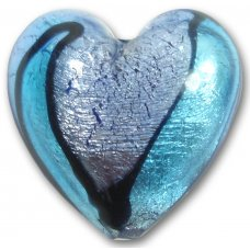 1 Murano Glass Bi-Coloured Foiled 30mm Heart Bead Sapphire & Aquamarine