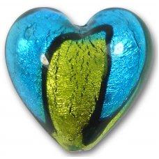 1 Murano Glass Bicolour Gold Foiled 30mm Heart Bead Dark Aquamarine & Lime