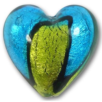 1 Murano Glass Bi-Coloured Gold Foiled 30mm Heart Bead Dark Aquamarine & Lime