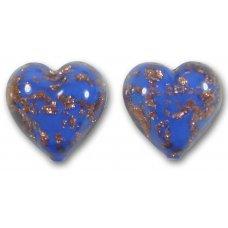 Pair Murano Glass Cobalt Sommerso 14mm Heart Beads