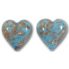 Pair Murano Glass Turquoise Blue Sommerso 14mm Heart Beads
