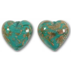 Pair Murano Glass Turquoise Green Sommerso 14mm Heart Beads