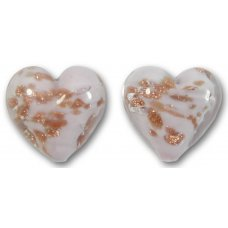 Pair Murano Glass Light Pink Sommerso 14mm Heart Beads