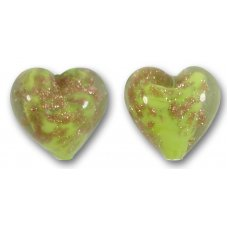 Pair Murano Glass Lime Green Sommerso 14mm Heart Beads