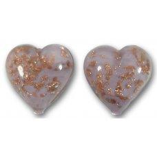 Pair Murano Glass Light Amethyst Sommerso 14mm Heart Beads