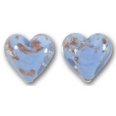 Pair Murano Glass Aquamarine Sommerso 14mm Heart Beads