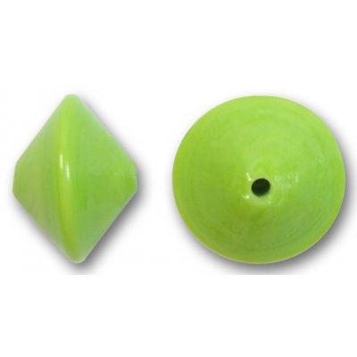 1 Murano Glass Lime Green 14mm Bicone Bead