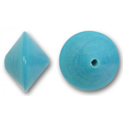 1 Murano Glass Aquamarine 14mm Bicone Bead