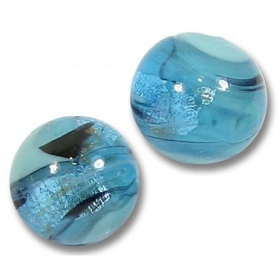 1 Murano Glass Turquoise Swish 14mm Round Bead