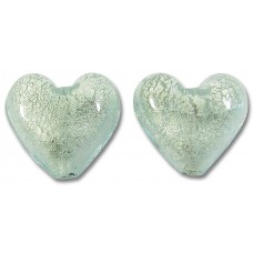 Pair Murano Glass Aquamarine White Goldfoil 14mm Hearts