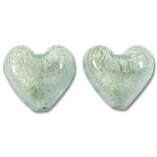 Pair Murano Glass Aquamarine White Goldfoil 14mm Hearts