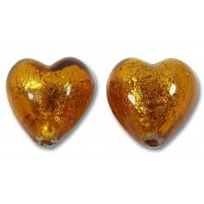 Pair Murano Glass  Dark Topaz Gold Foiled 10mm Hearts