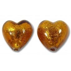 Pair Murano Glass  Dark Topaz Gold Foiled 10mm Hearts