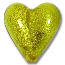 1 Murano Glass Chartreuse Green Gold Foiled 20mm Heart Bead