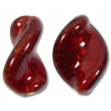 1 Murano Glass Dark Ruby Gold Foiled Elica 20mm Twist Bead