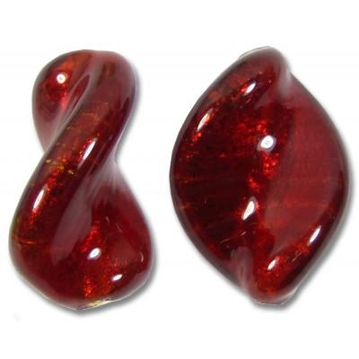 1 Murano Glass Dark Ruby Gold Foiled Elica 20mm Twist Bead
