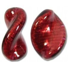 1 Murano Glass Rubino Gold Foiled Elica 20mm Twist Bead