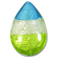 1 Murano Glass Lime Clear and Dark Aqua Tricolour White Gold Foiled Large Pear Drop